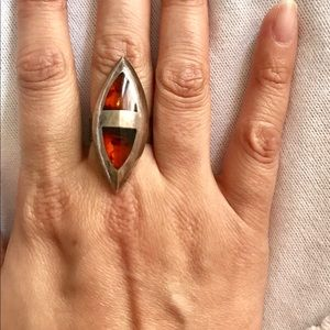 Sterling Silver Amber woman's ring